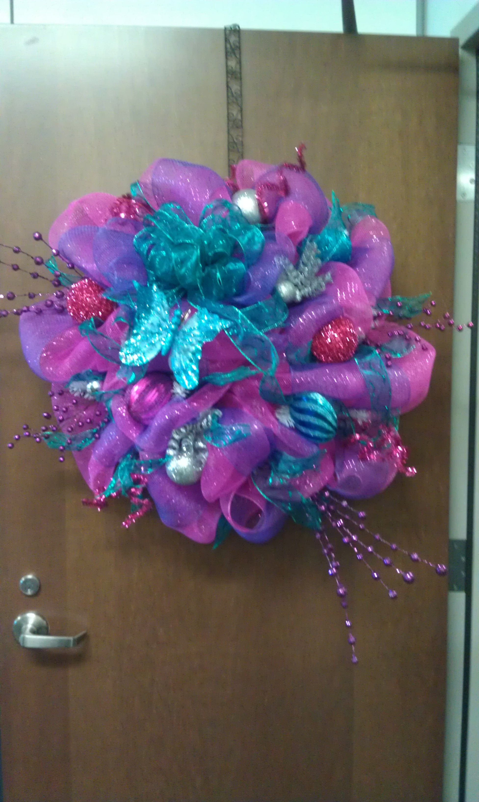 Pink Purple And Blue Deco Mesh Wreath The Holly Tree