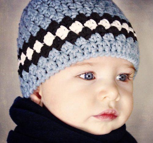 Photo of Classic Baby Boy Beanie Hat, Crochet Pattern, 1 — Lisa Corinne Crochet