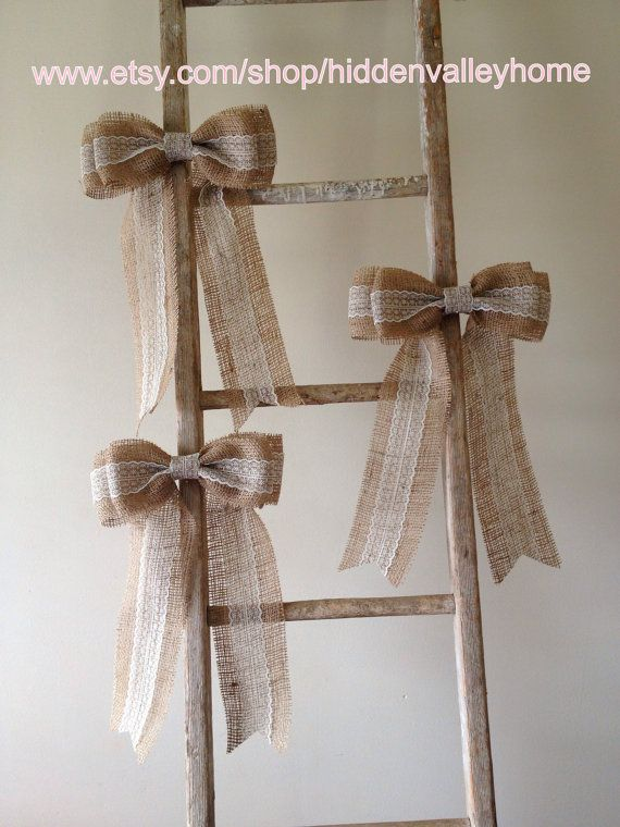 burlap and lace window decor | Burlap lace bow---pew bow ...