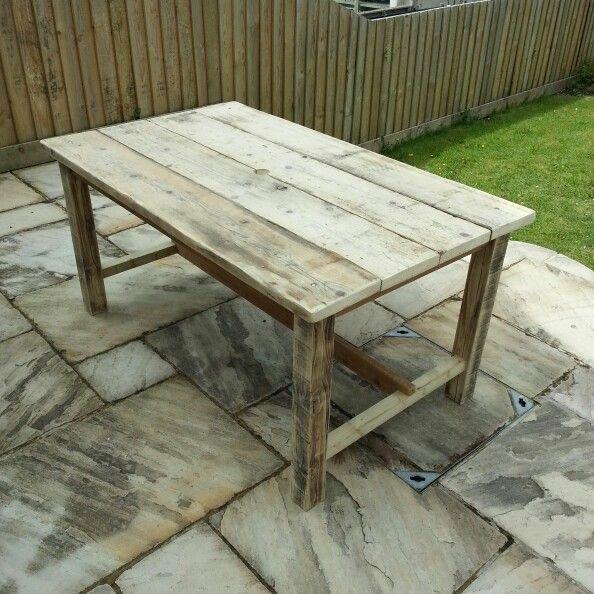 Garden Table From Reclaimed Scaffolding Boards Wooden Garden