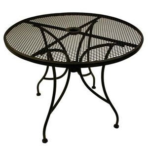 American Tables Seating Alm36 36 Round Top Outdoor Table With Umbrella Hole Patio Table Umbrella Wrought Iron Table Round Patio Table Round patio table with umbrella hole