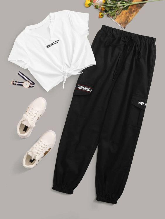 White Letter Graphic Twist Front Tee With Pocket Side Drawstring Black Jogger Two Piece Set – En güzel giysiler