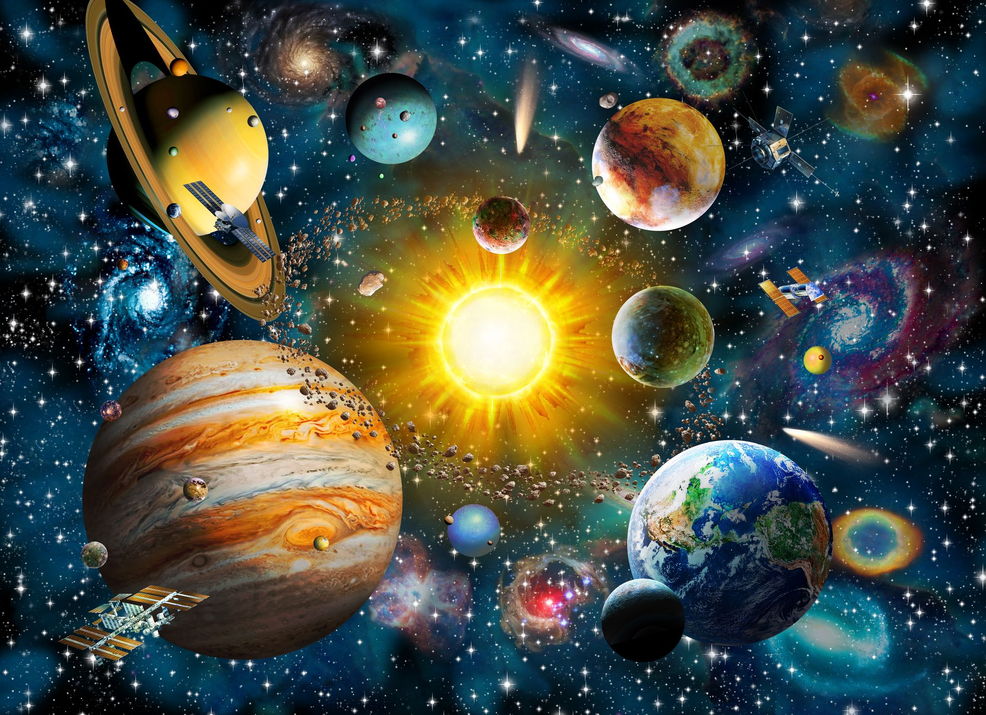 Our Solar System Wall Mural | Solar system wallpaper, Solar system ...