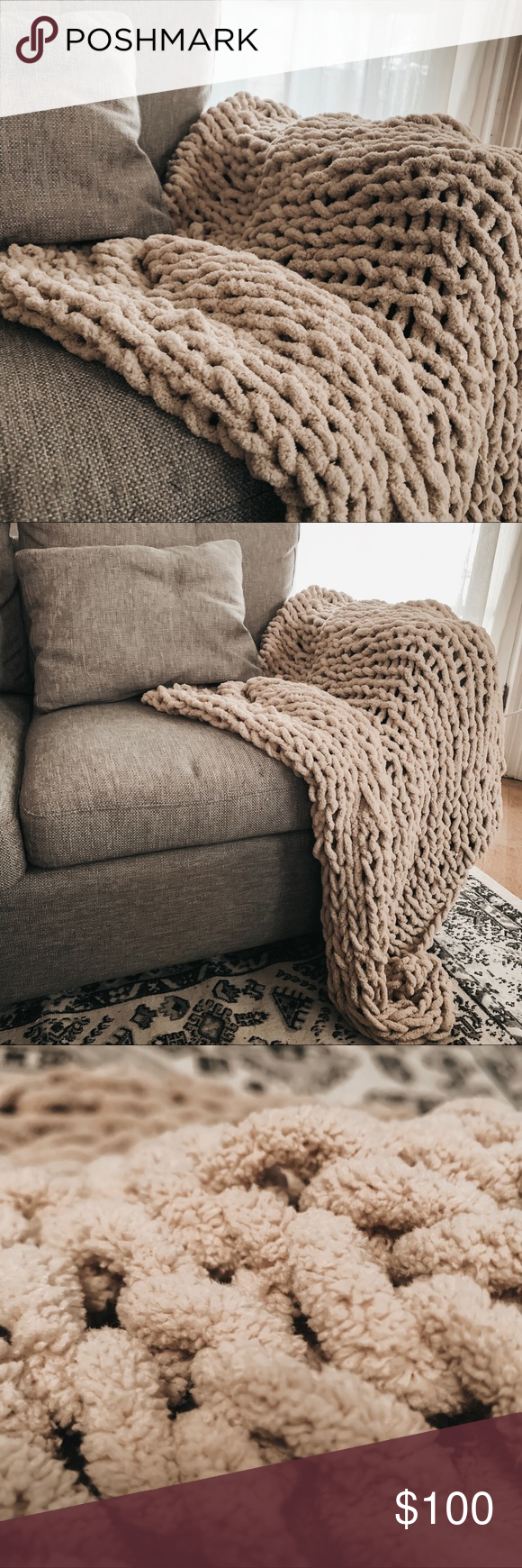 Chunky HandKnit Throw Blanket Length 65 Inches Width 35 Inches Material Cotton Polyester ABOUT Beige Sand colored chunky knit throw blanket is Chunky HandKnit Throw Blank...