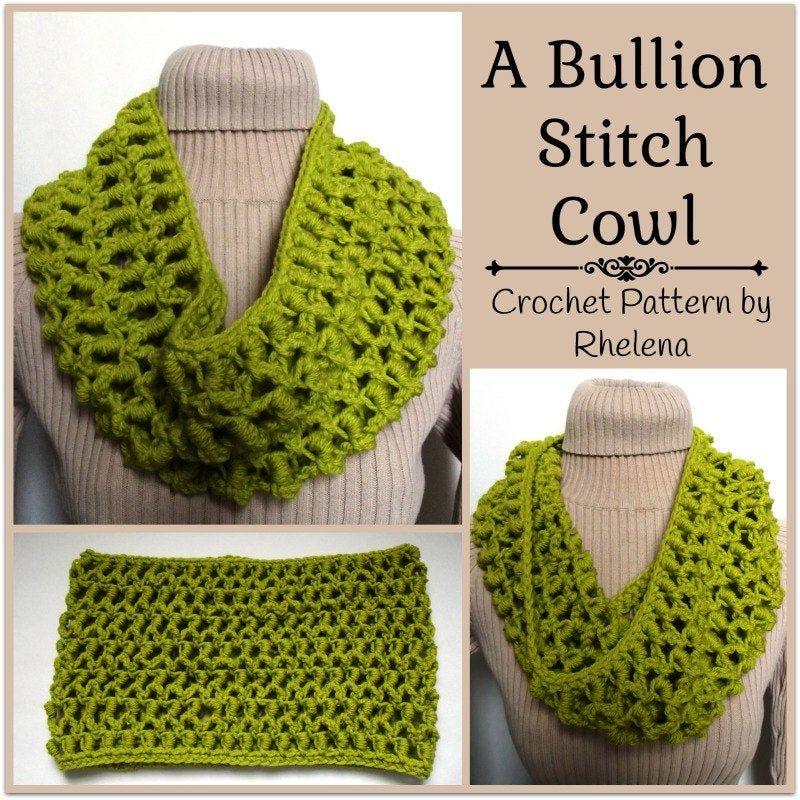 A Bullion Stitch Cowl Neck Scarf ~ PDF Crochet Pat