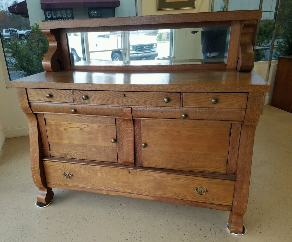 Oak Antique Empire Sideboard Server Buffet Mirror And