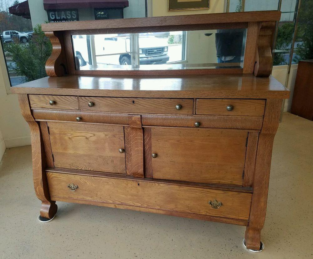Oak Antique Empire Sideboard Server Buffet Mirror