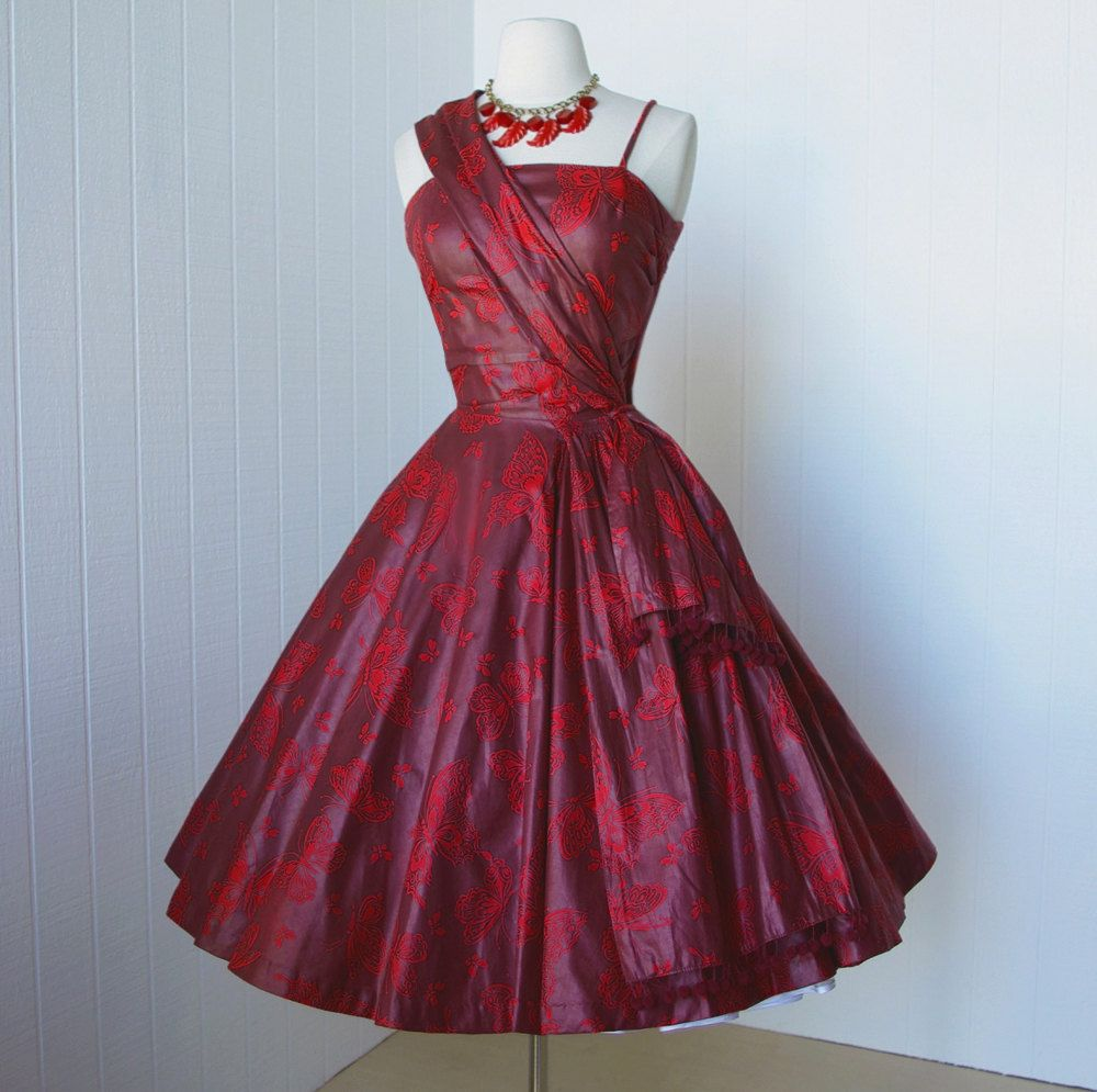 Us jerry gilden spectator cocktail party dress red butterfly