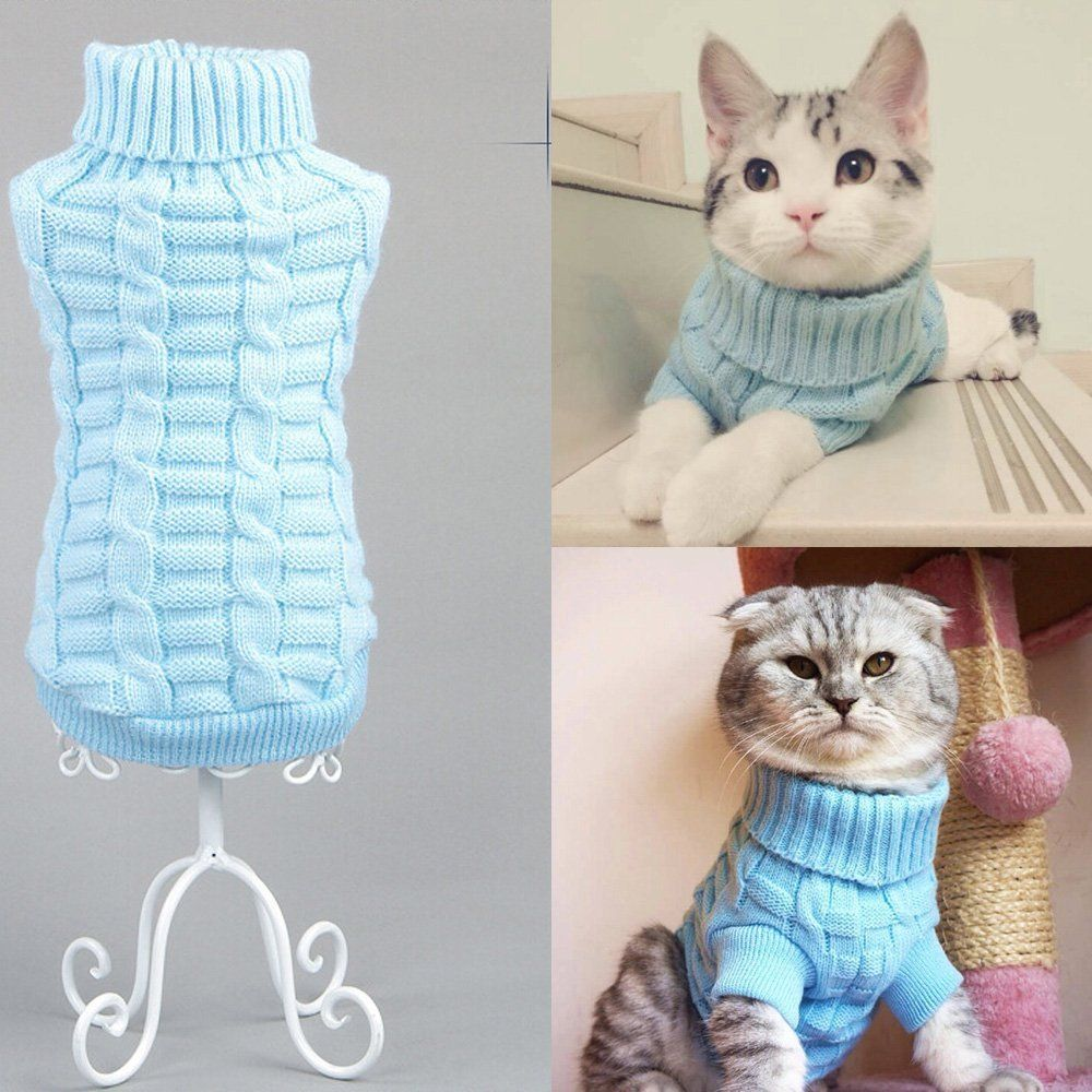 Turtleneck Pet Cats Sweater Aran Pullover Knitted Doggie Kitty Clothes Solid Colors for Kitten Chihuahua Pug Blue, S