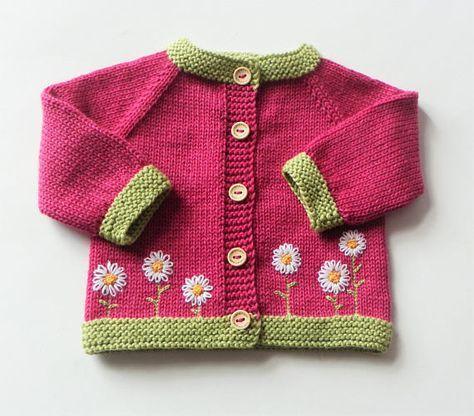 Blume Strickjacke Blume rosa Pullover Strickjacke Baby Mädchen #uncinettoperbambina