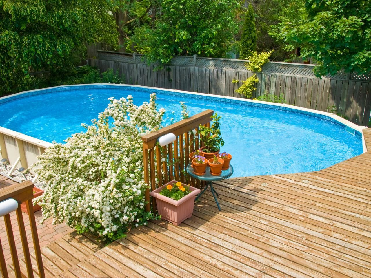 Diy Above Ground Pool Landscaping how to build a wood deck around above ground pool | contemporary