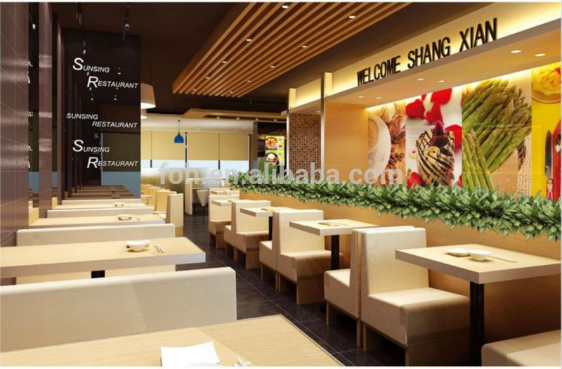 Modern Fast Food Restaurant Furniture Booth Seating And Tables(FOH RT116)