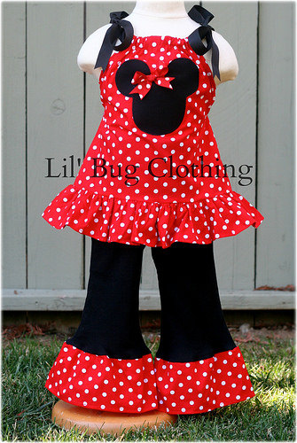 473c08e3f Minnie Mouse Red White Polka Dot Outfit, Minnie Mouse Pillowcase Top & Pant  Outfit, Boutique Girl Cl