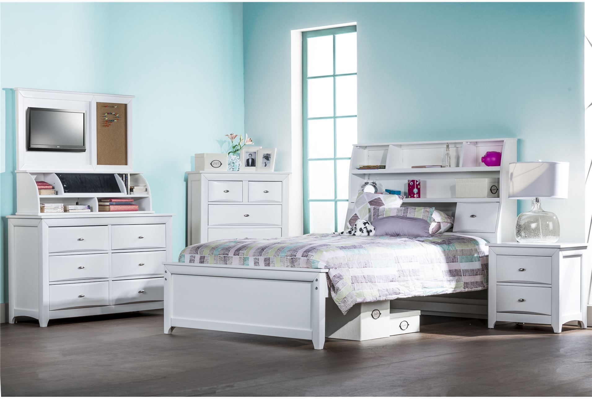 Varsity White Twin Bookcase Bed W/Single 3 Drawer Storage