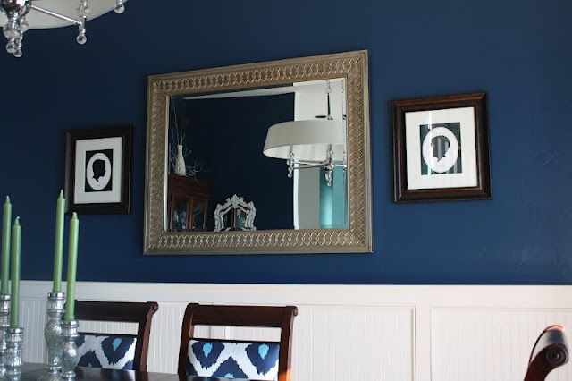 dining room-->white wainscoting & blue