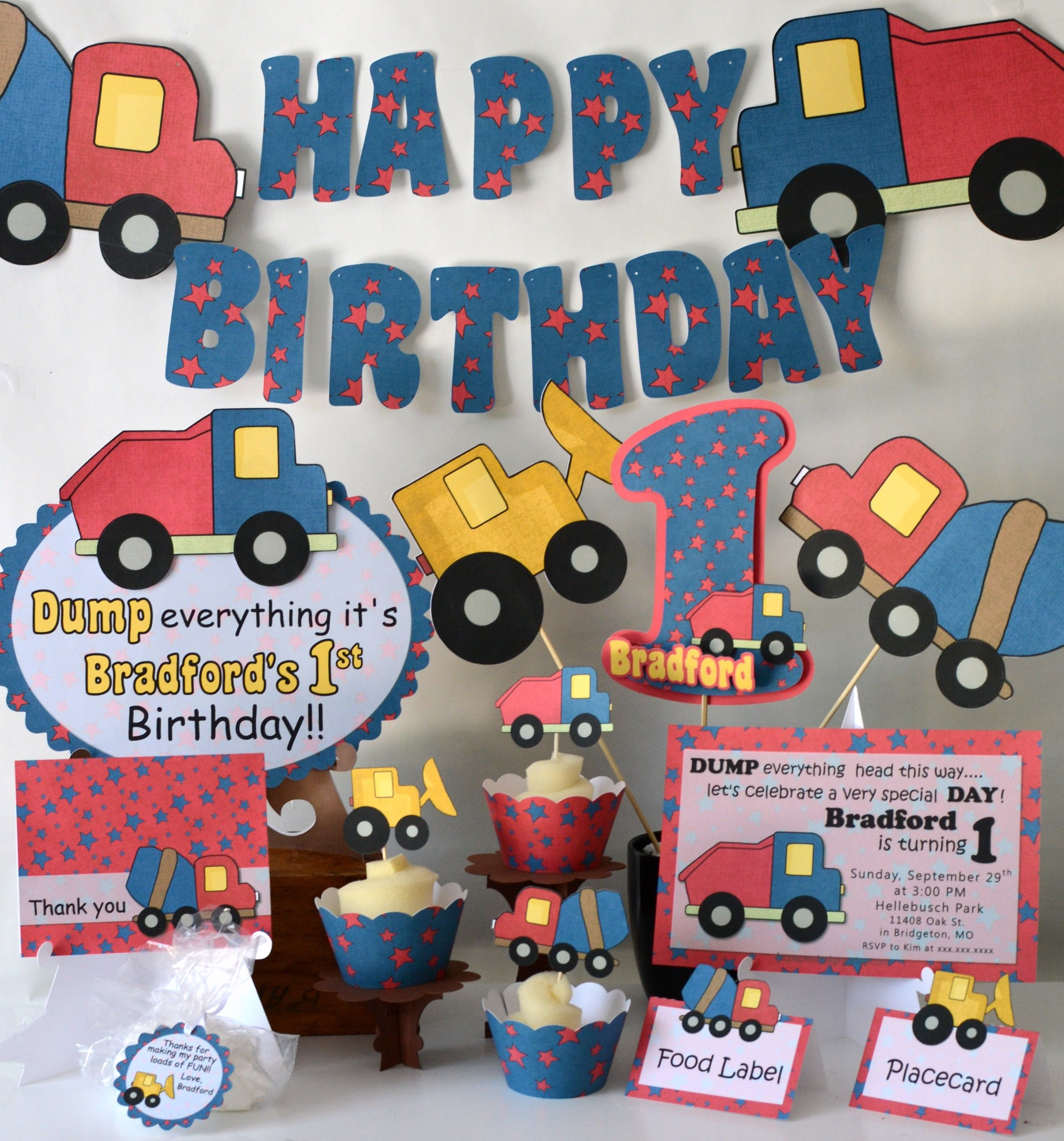 construction party decorations dump truck birthday party