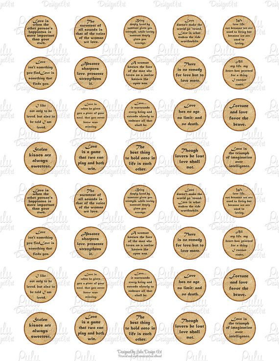 photograph relating to Printable Bottlecap Images known as Appreciate Offers, printable estimates, 1 inch circle picture