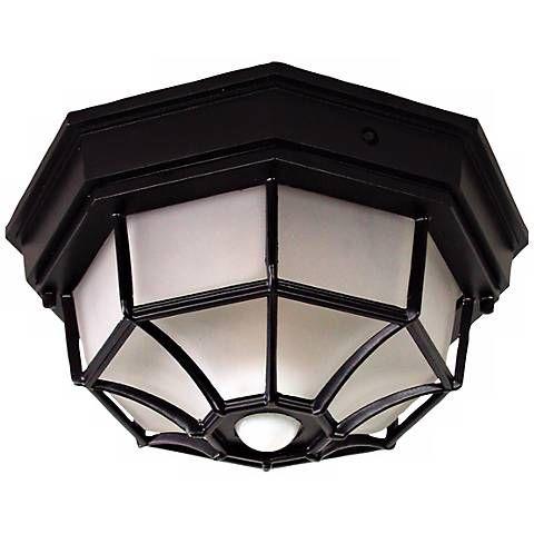 Octagonal 12 Wide Black Motion Sensor Outdoor Ceiling Light H7011 Lamps Plus Ceiling Lights Outdoor Ceiling Lights Decorative Ceiling Lights Porch ceiling lights with motion sensor