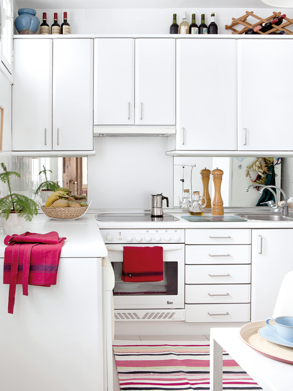 white kitchen with doses of colour