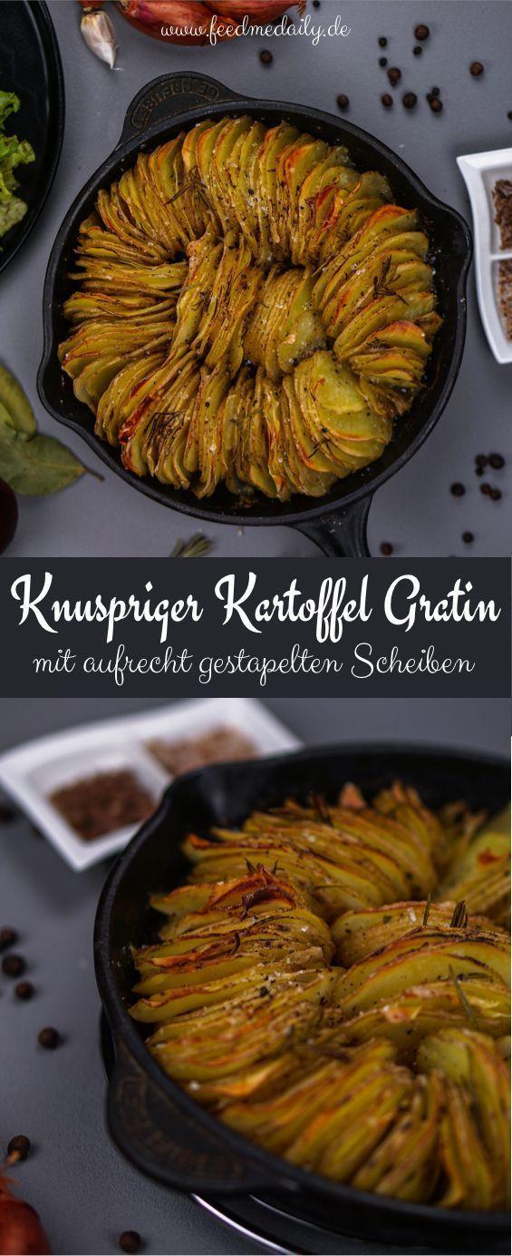 Knuspriger Kartoffelgratin mit Knoblauch und Rosmarin