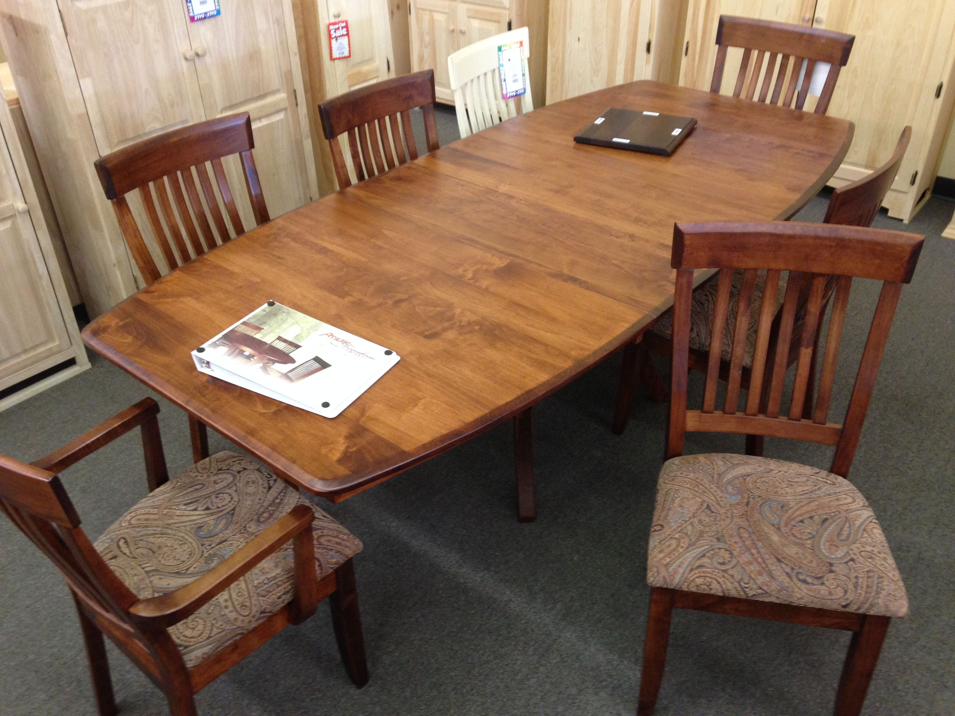 Amish Made Brown Maple Table Set With The Best Finish Money Can Buy From Americ Furniture Maple Tables Rustic Dining Rustic Dining Table