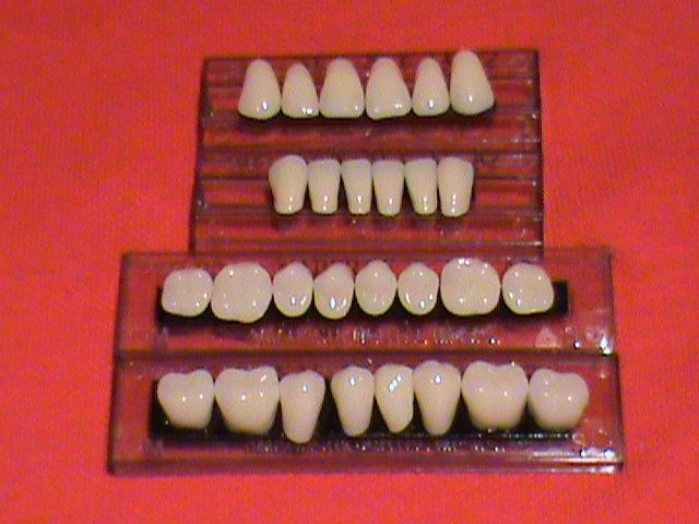 One complete set of acrylic resin denture/false teeth  Available in