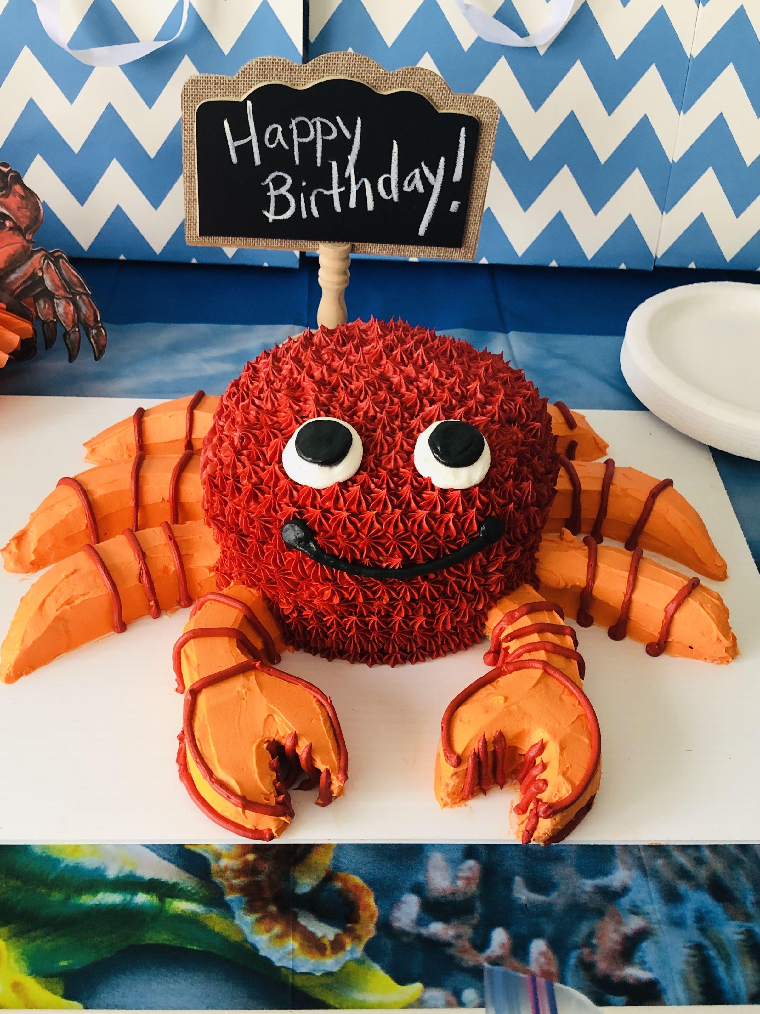 Peachy Crab Birthday Cake With Images Crab Birthday Cakes Crab Party Funny Birthday Cards Online Necthendildamsfinfo