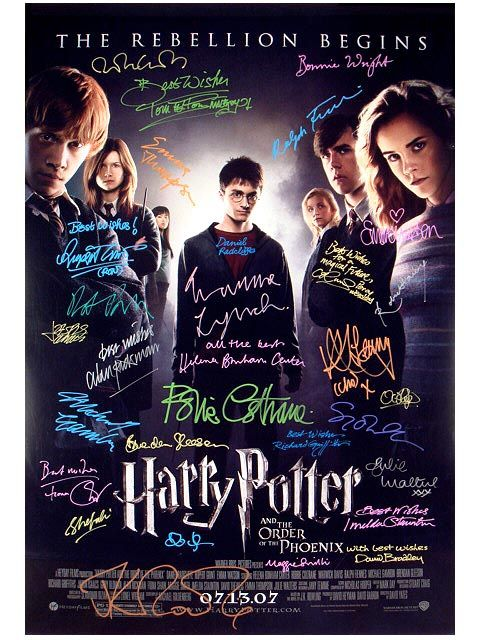 Official Harry Potter And The Order Of The Phoenix Signed Poster By The Cast In 2021 Harry Potter Sign Harry Potter Cast Harry Potter