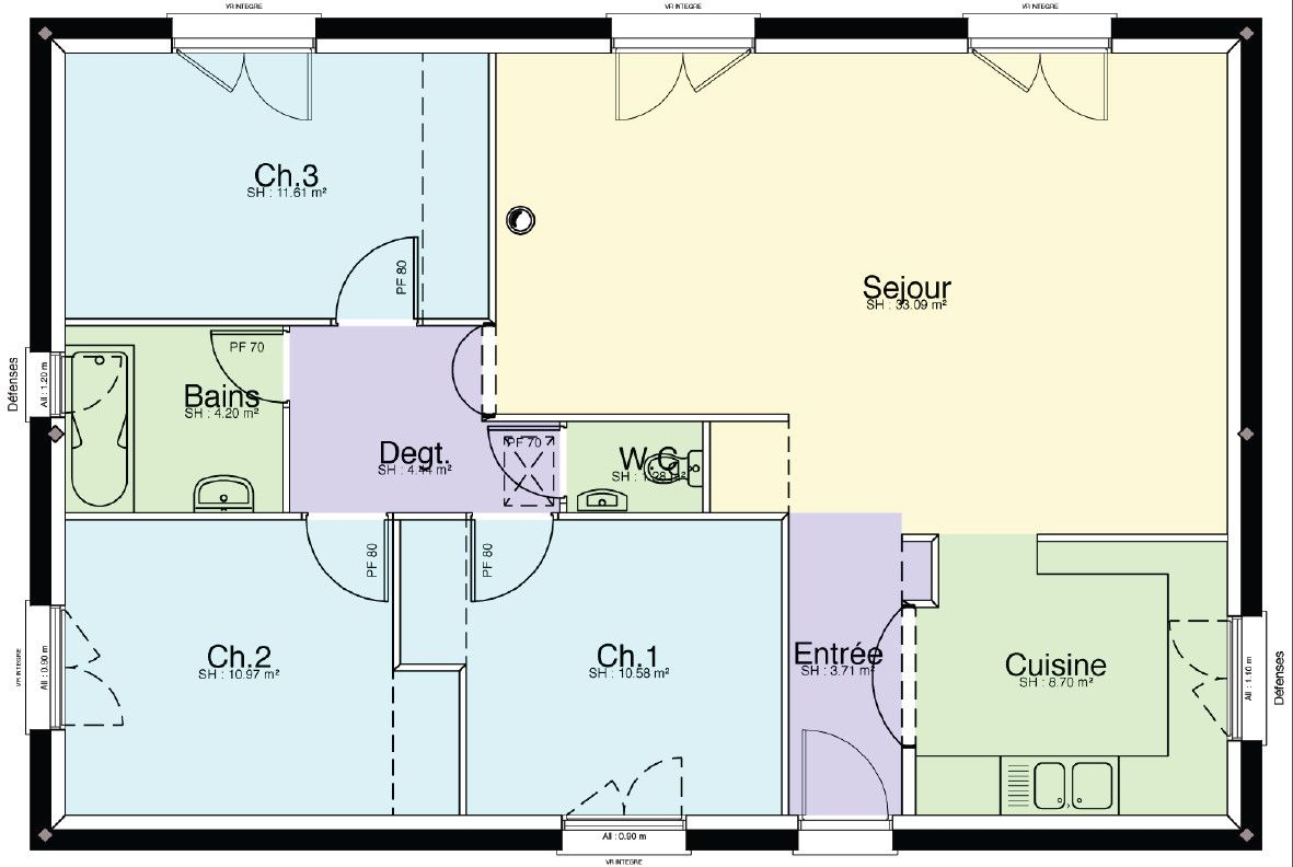 Plan maison individuelle plain pied tt pinterest for Plan de masse maison individuelle