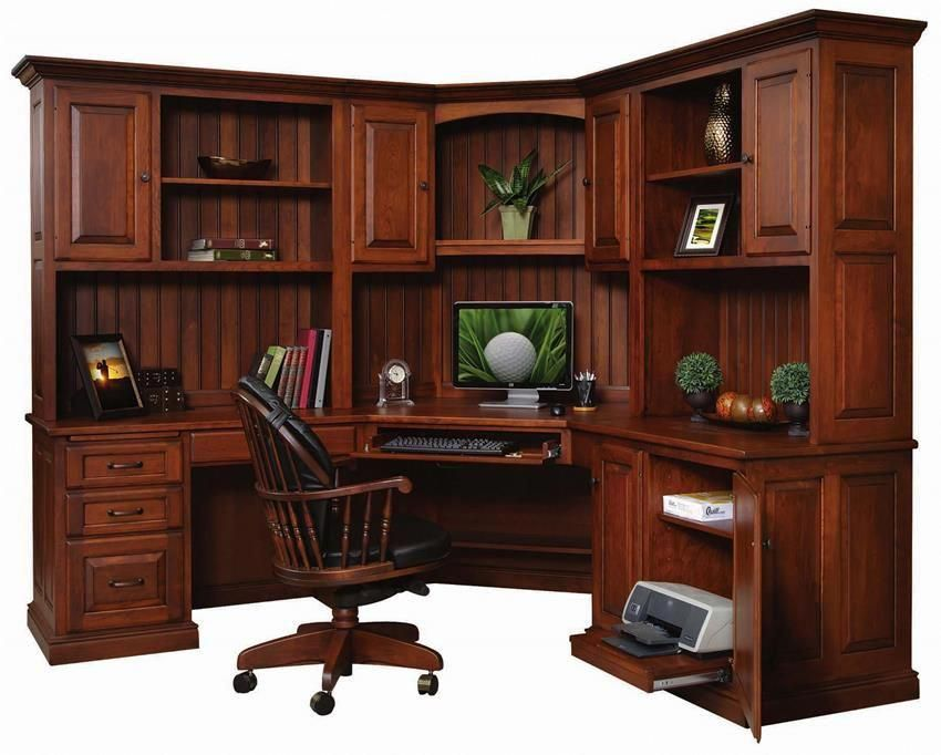 amish office pro corner work station home office on smart corner home office ideas id=38149