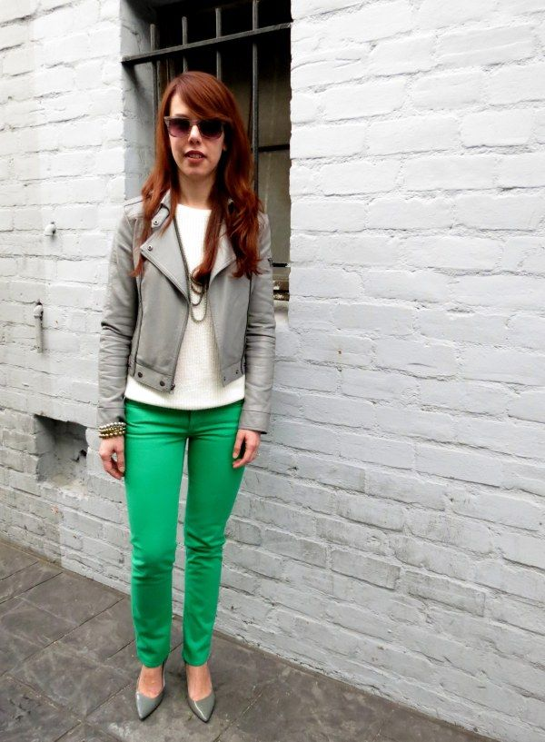 green jeans and gray moto jacket