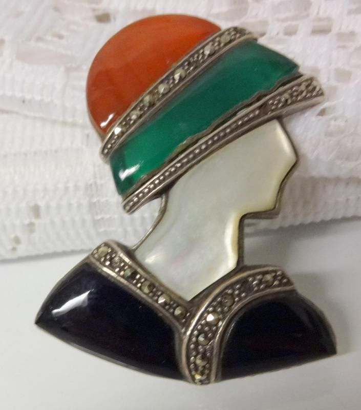 Art Deco Sterling Silver Carnelian Chrysoprase Black Onyx Marcasite Pin Brooch is part of Silver Home Accessories Art Deco -
