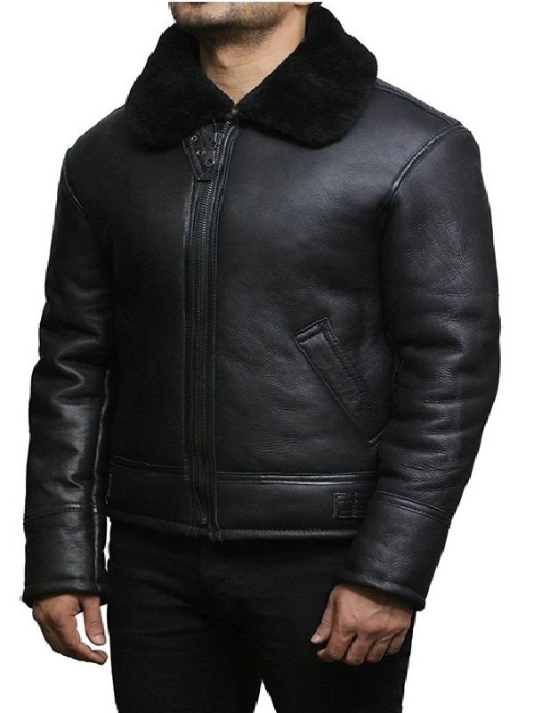 Men's Aviator B3 Real Shearling Sheepskin Leather Jacket