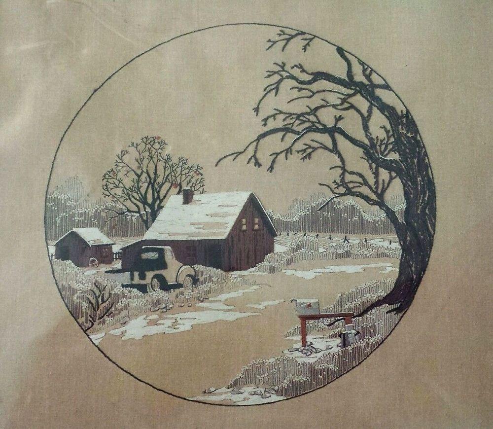 "BUCILLA Crewel Embroidery Kit 48689 FROSTED COUNTRYSIDE 22"" X 22"" Barn Farm #Bucilla"
