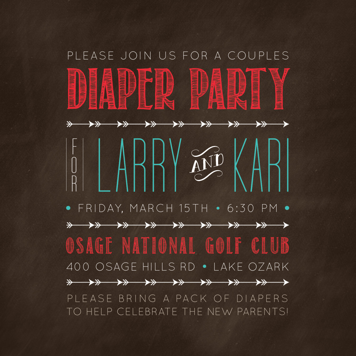 5x5 Rustic Arrows Couples Diaper Party Invitation // Turquoise, Red ...