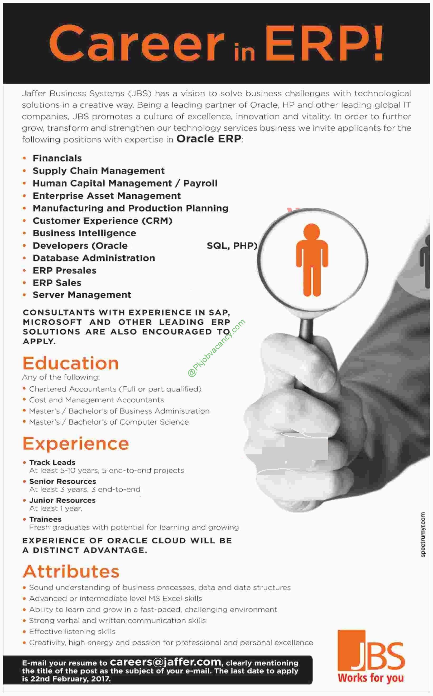 Oracle ERP Jaffar Business Systems Latest Advertisement JBS Jobs ...