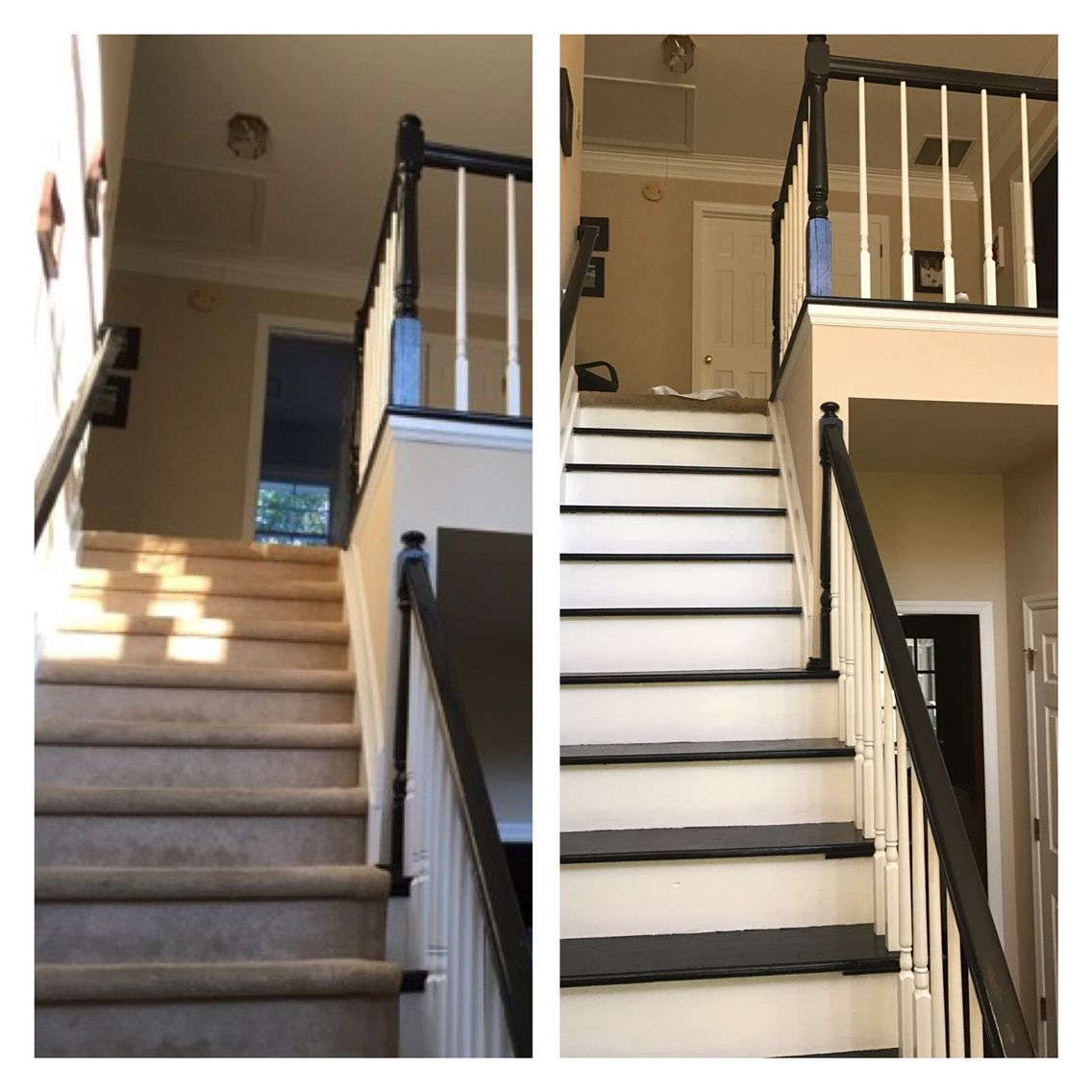 Best Weekend Stairs Remodel Removed Carpet Painted Warning 400 x 300
