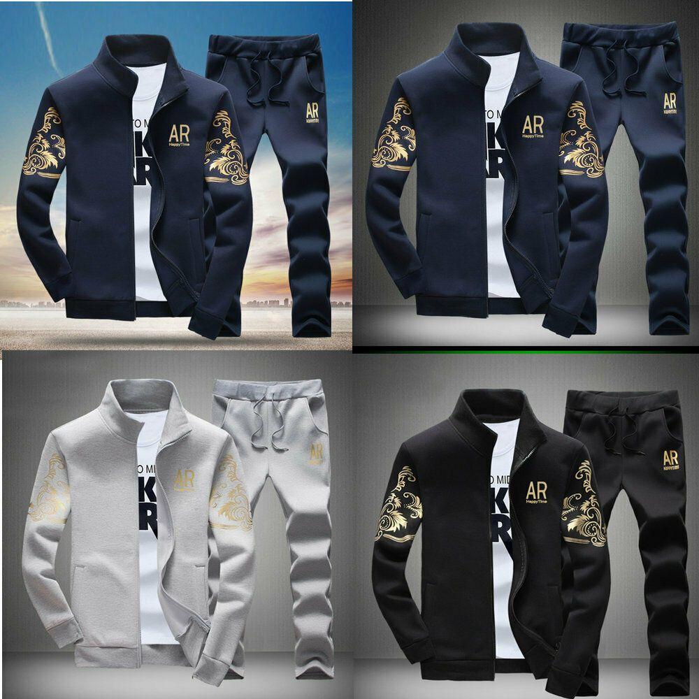 Men/'s Casual Tracksuit Sport Suit 2pcs Jogging Athletic Jacket+Pants Sportswear