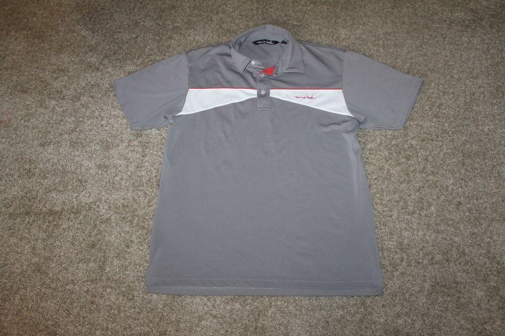 Travis Mathew Polo S/ S Golf Gray Brown White Polyester Size Large L #TravisMathew #PoloShirt