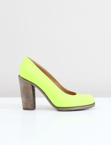MM6 Stacked Wooden Heel- Yellow