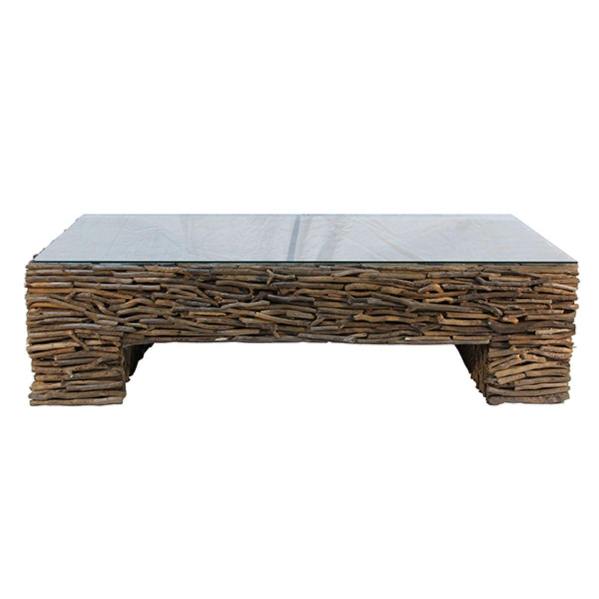 Driftwood cocktail table w glass 56l x 31w x 15h