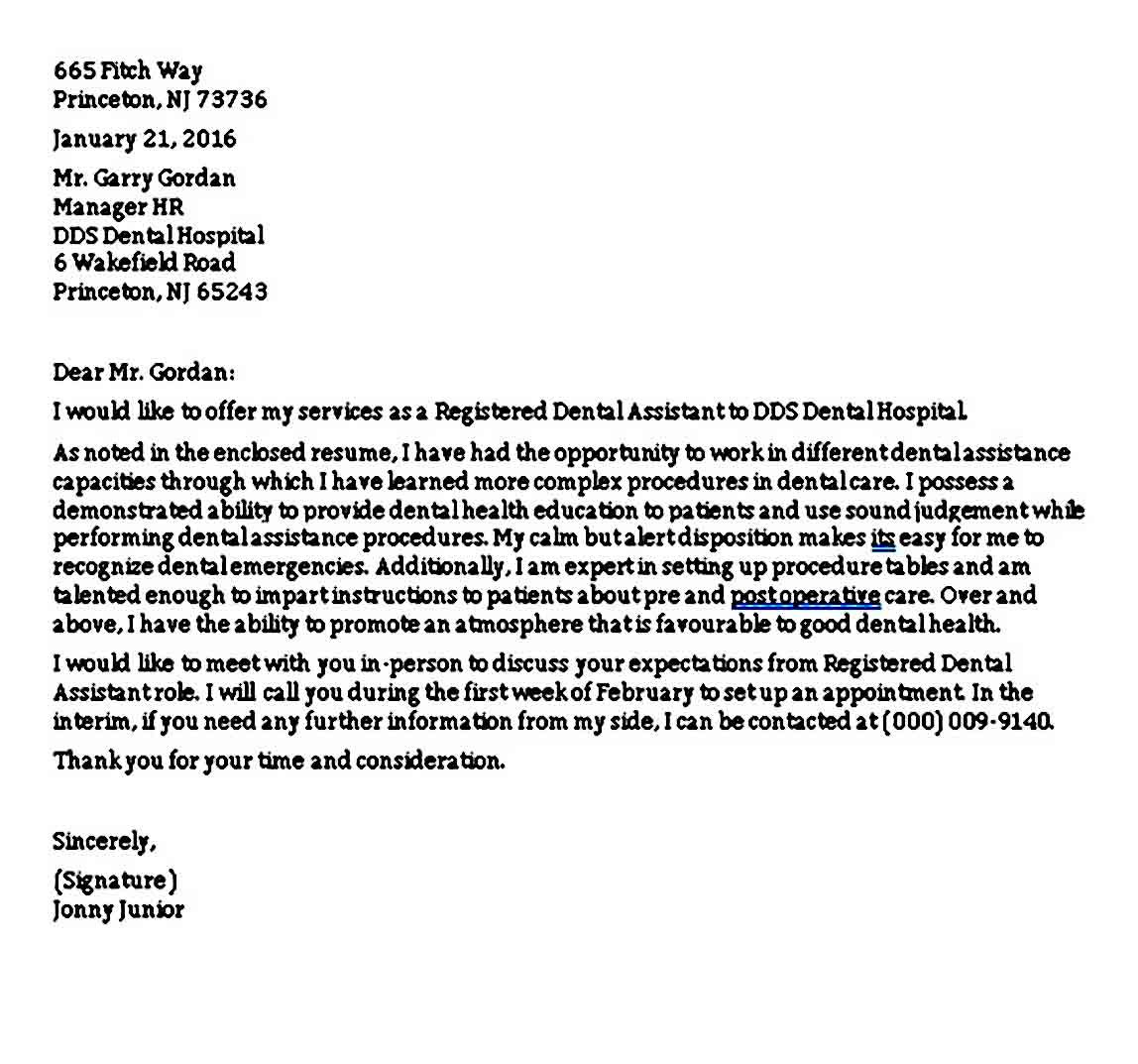 Dental assistant cover letter dental assistant cover