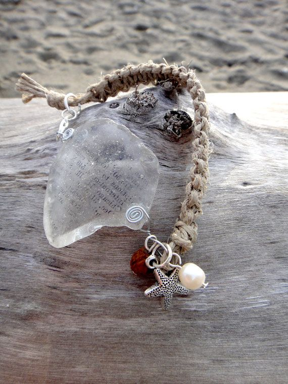 natural sea glass bracelet with small printed lettering $12.00