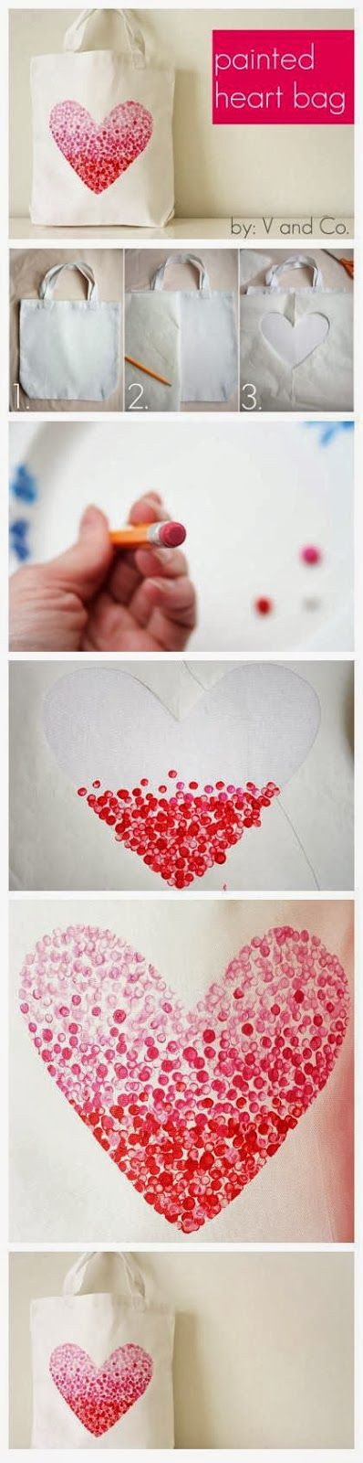 DIY : Painted Heart Bag  That bag looks  really nice and attractive. In fact, you can make such one really  easily. Just use an ordina...