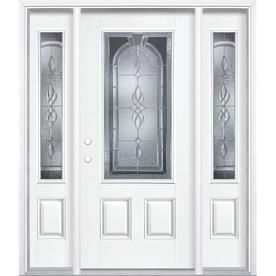 Lovely White Entry Door with Sidelights