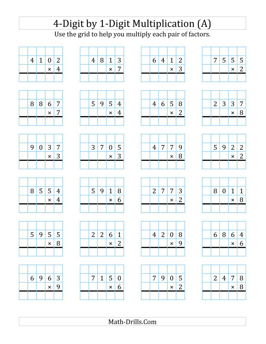 The 4 Digit By 1 Digit Multiplication With Grid Support A Math Worksheet Multiplication Worksheets Multiplication Fractions Worksheets