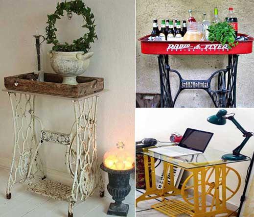 25 ideas para convertir una antigua m quina de coser en un - Reciclar muebles viejos ...