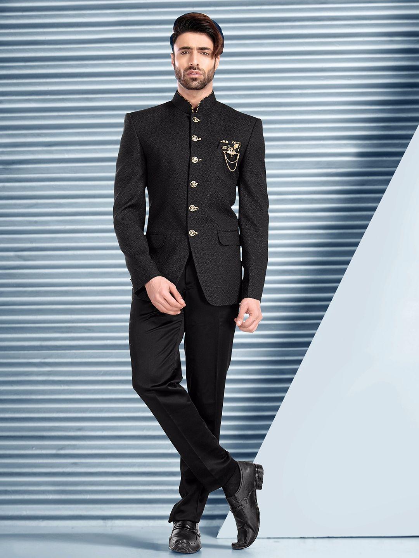 Printed Black Wedding Terry Rayon Jodhpuri Suit Wedding Suits