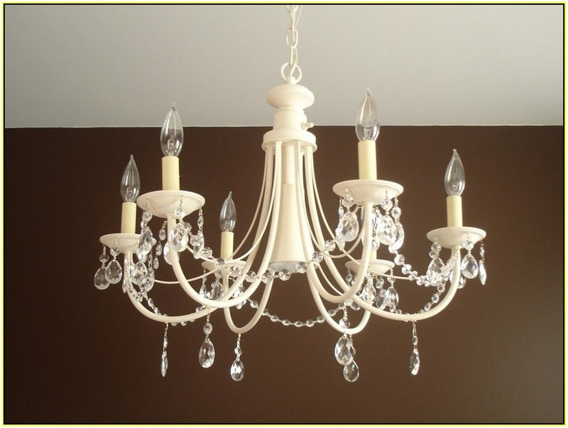 Fresh coat of paint remove glass shades and attach cristalier diy chandelier make over aloadofball Image collections