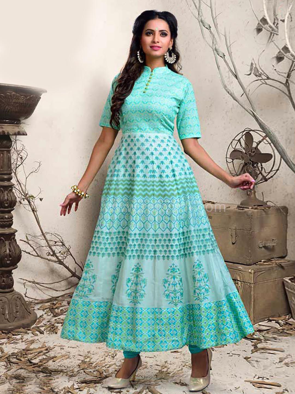 Close Neck Printed Anarkali Suit #rajwadi #readytowear #partywear ...